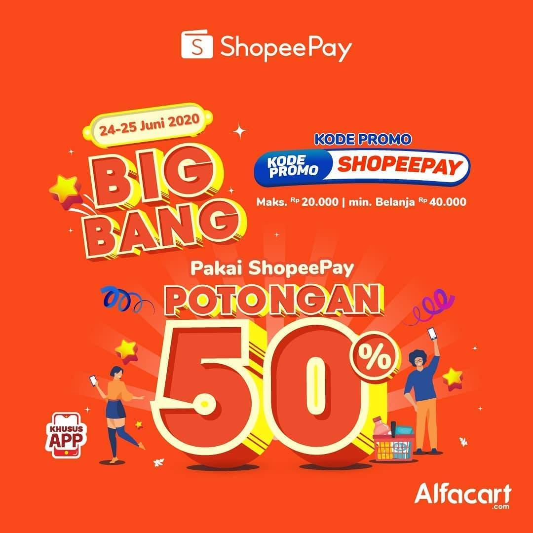Diskon Promo Alfacart Potongan 50% Untuk Transaksi Menggunakan ShopeePay