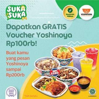 Diskon Promo Gratis Voucher Yoshinoya Rp. 100.000 Untuk Pemesanan Melalui GrabFood