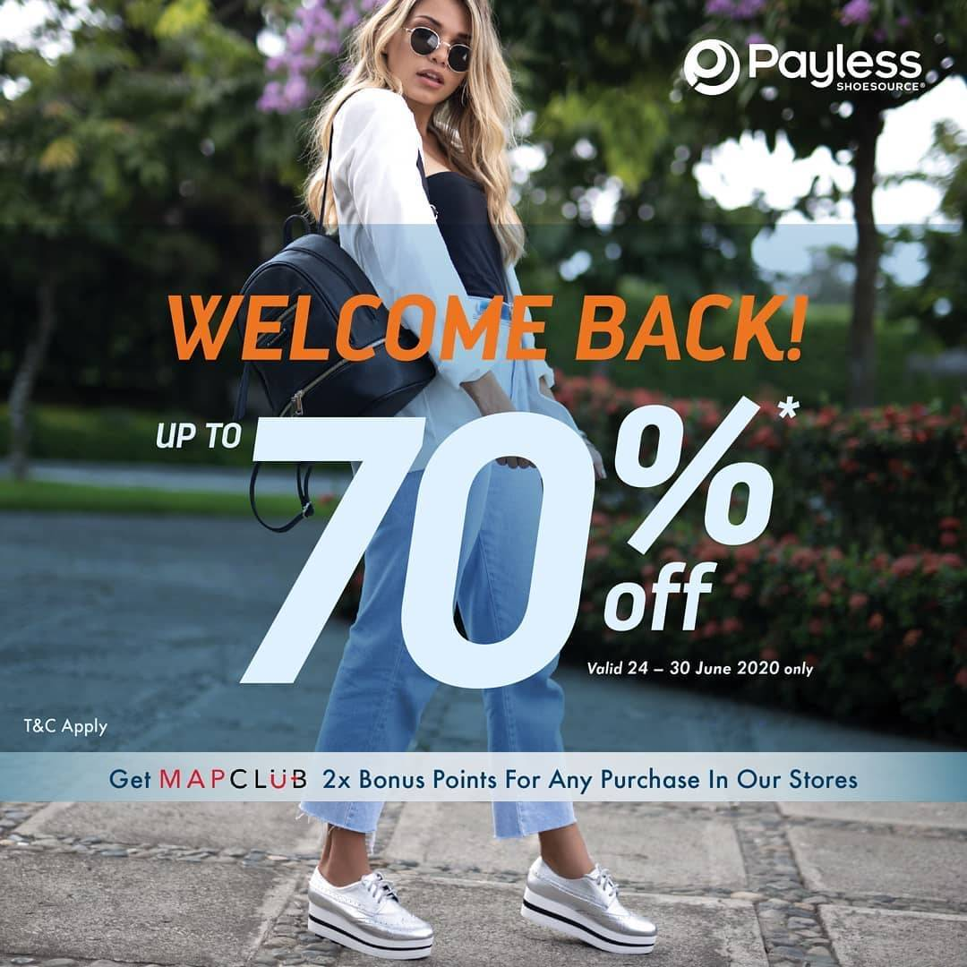 Diskon Promo Payless Welcome Back Dapatkan Diskon HIngga 70% + 2 x MAPClub Bonus Points