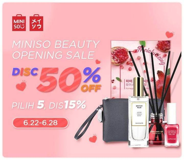 Diskon Promo Miniso Beauty Opening Sale, Discount Up To 50% Off For Beauty Products