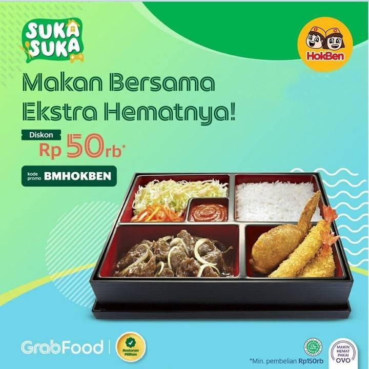 Diskon Promo Hokben Diskon Rp. 50.000 Untuk Pemesanan Menu Melalui GrabFood