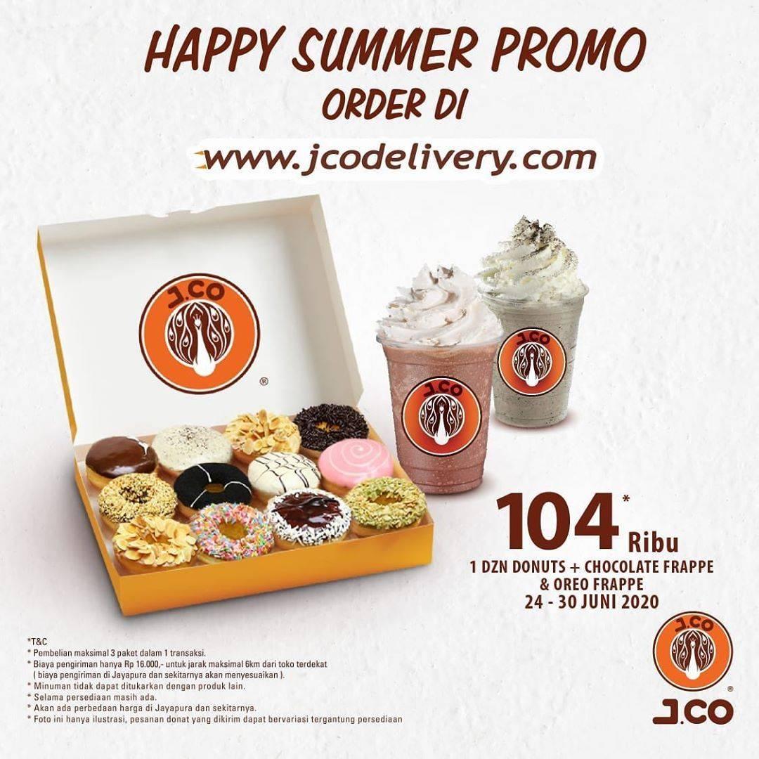 Diskon Promo Happy Summer J.CO 1 Lusin Donuts + 2 Frappe Pilihan Hanya Rp. 104.000