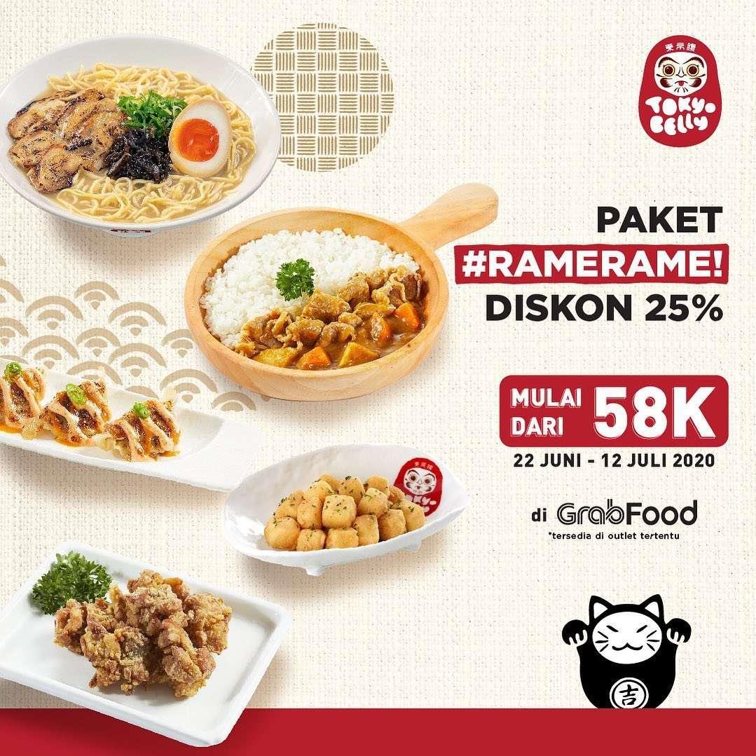 Diskon Promo Tokyo Belly Diskon 25% Untuk Pemesanan Paket Rame Rame Melalui GrabFood