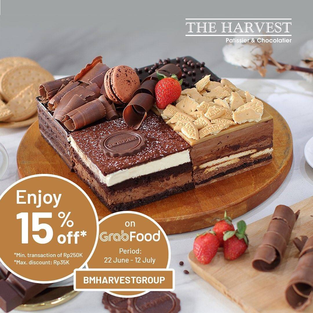 Diskon Promo The Harvest Diskon 15% Untuk Pemesanan Cake Favorit Melalui GrabFood