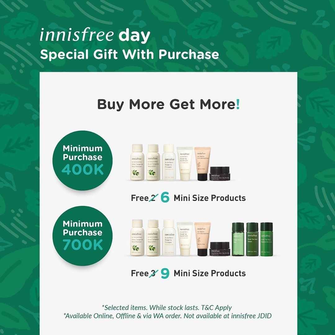 Promo diskon Promo Innisfree Buy 1 Get 1 Free, Discount 30% Off, Bundling Sets, Buy More Get More