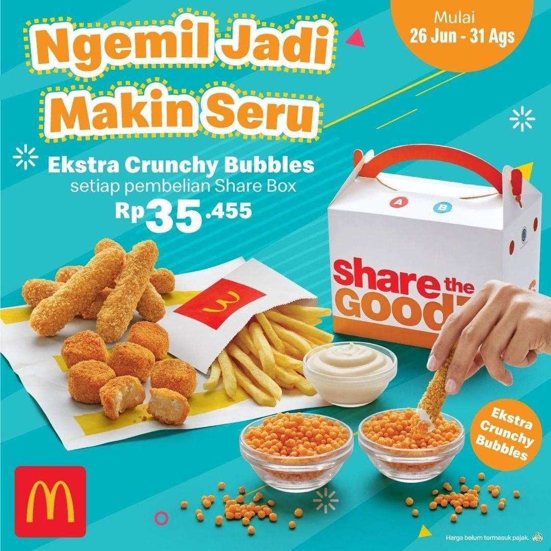 Diskon Promo McDonalds Share Box Extra Crunchy Bubbles Hanya Rp. 35.455