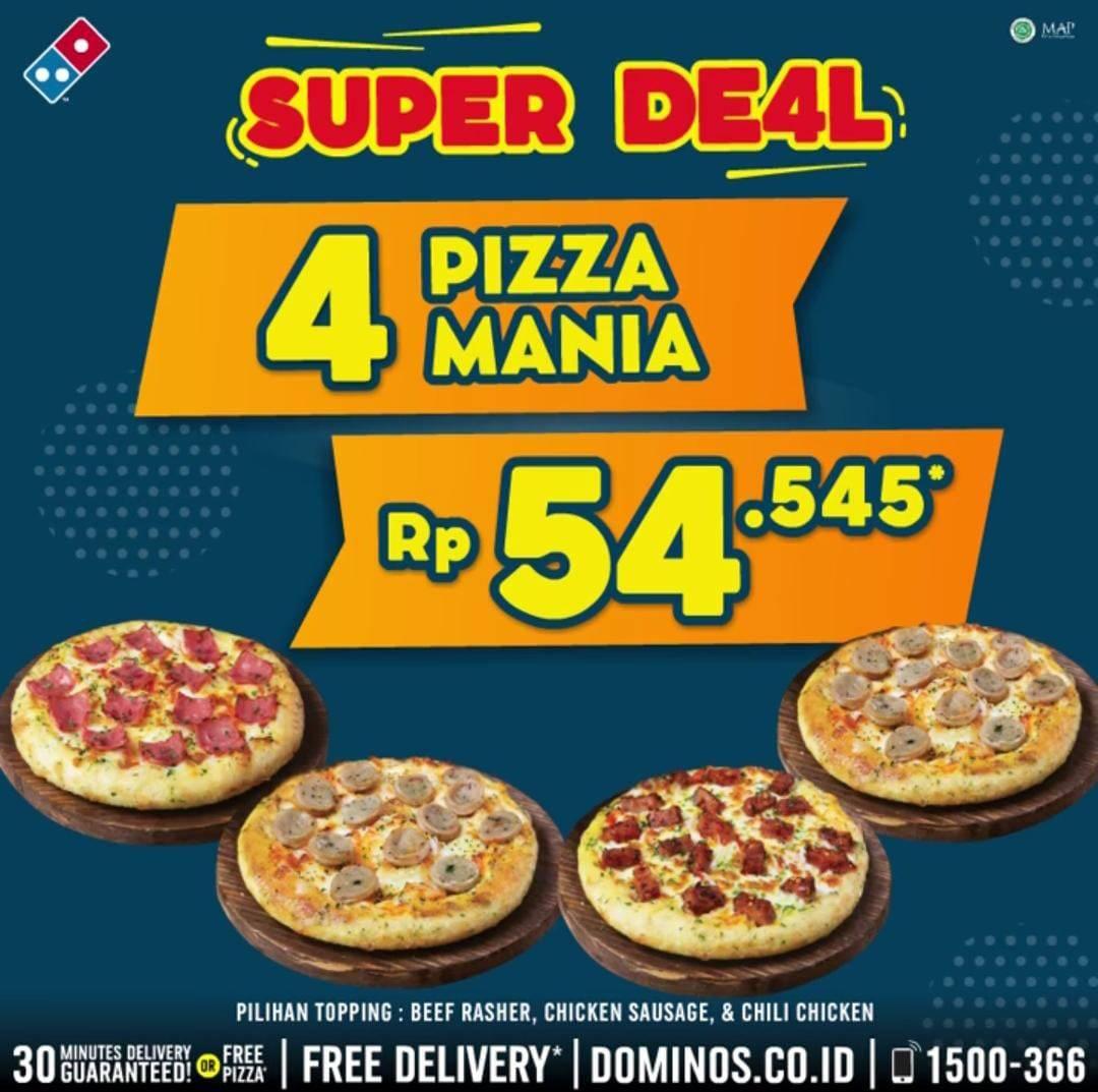 Diskon Promo Domino's Pizza 4 Pizza Mania Hanya Rp. 54.545