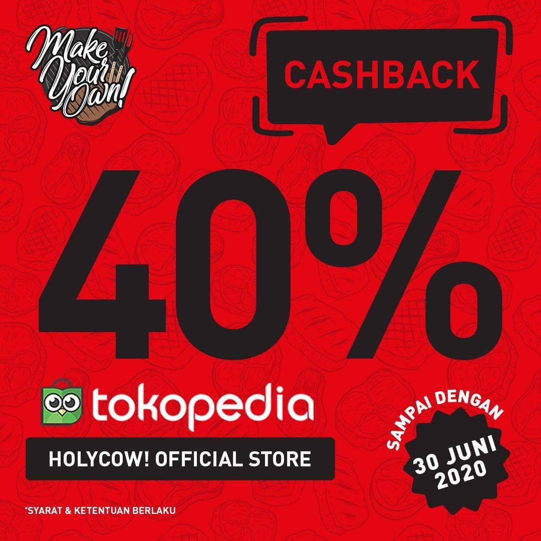 Diskon Promo HolyCow Cashback 40% Untuk Pemesanan Menu Melalui Tokopedia