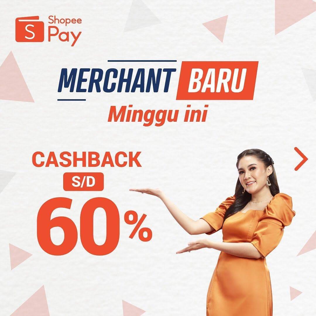 Diskon Promo ShopeePay Cashback Hingga 60% Untuk transaksi Di Merchant Terbaru