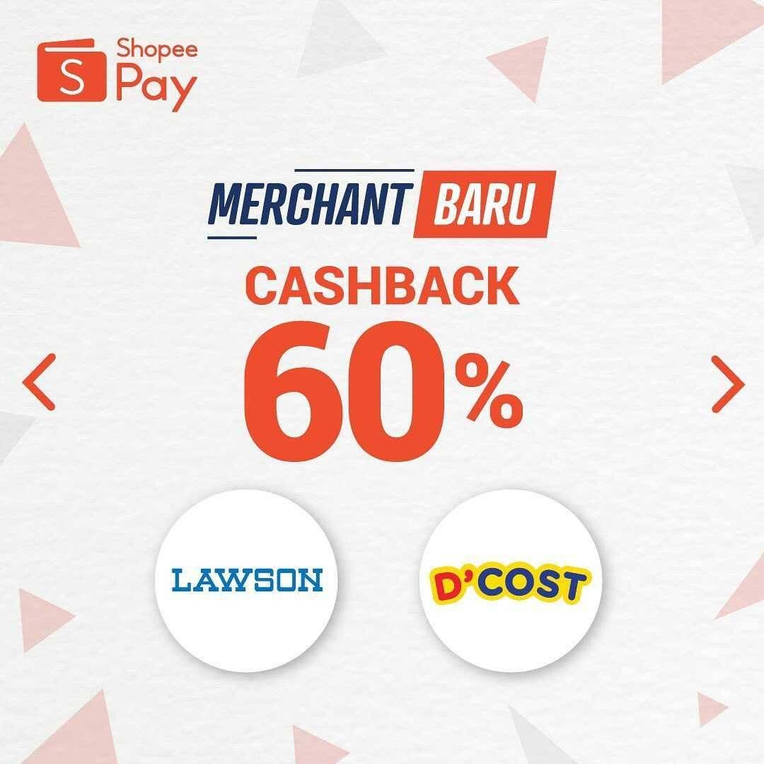 Promo diskon Promo ShopeePay Cashback Hingga 60% Untuk transaksi Di Merchant Terbaru