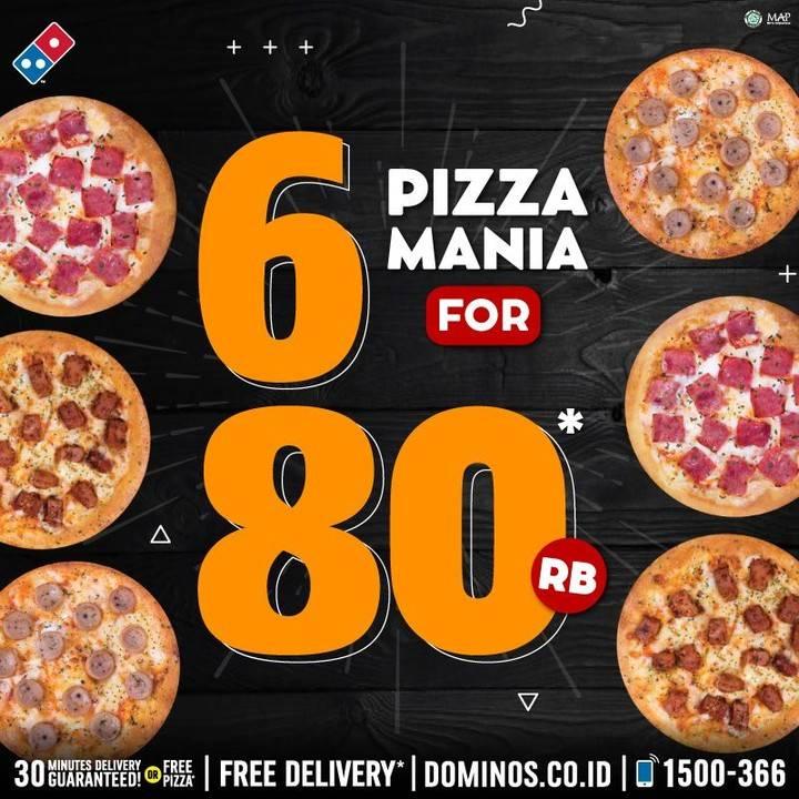 Diskon Promo Domino's Pizza Harga Spesial 6 Pizza Mania Hanya Rp. 80.000