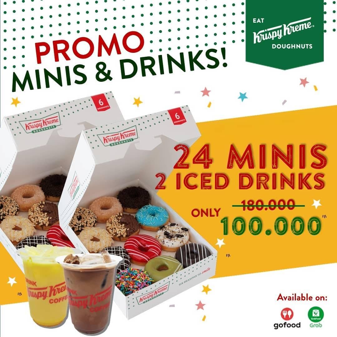 Diskon Promo Krispy Kreme 24 Minis + 2 Iced Drinks Only For Rp. 100.000