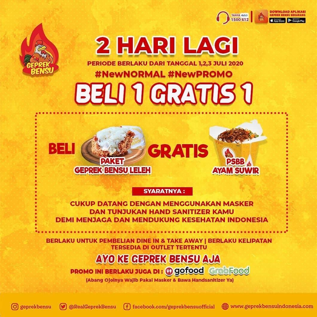Diskon Promo Geprek Bensu Beli 1 Paket Geprek Bensu Leleh Gratis 1 PSBB Ayam Suwir