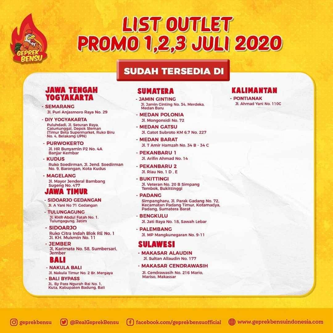 Promo diskon Promo Geprek Bensu Beli 1 Paket Geprek Bensu Leleh Gratis 1 PSBB Ayam Suwir