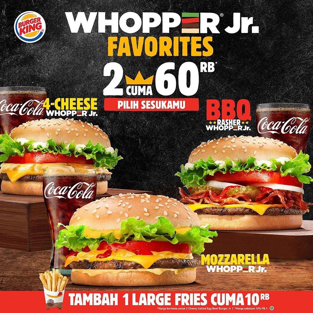 Diskon Promo Burger King Harga Spesial 2 Paket Whopper Jr Favorit Hanya Rp. 60.000