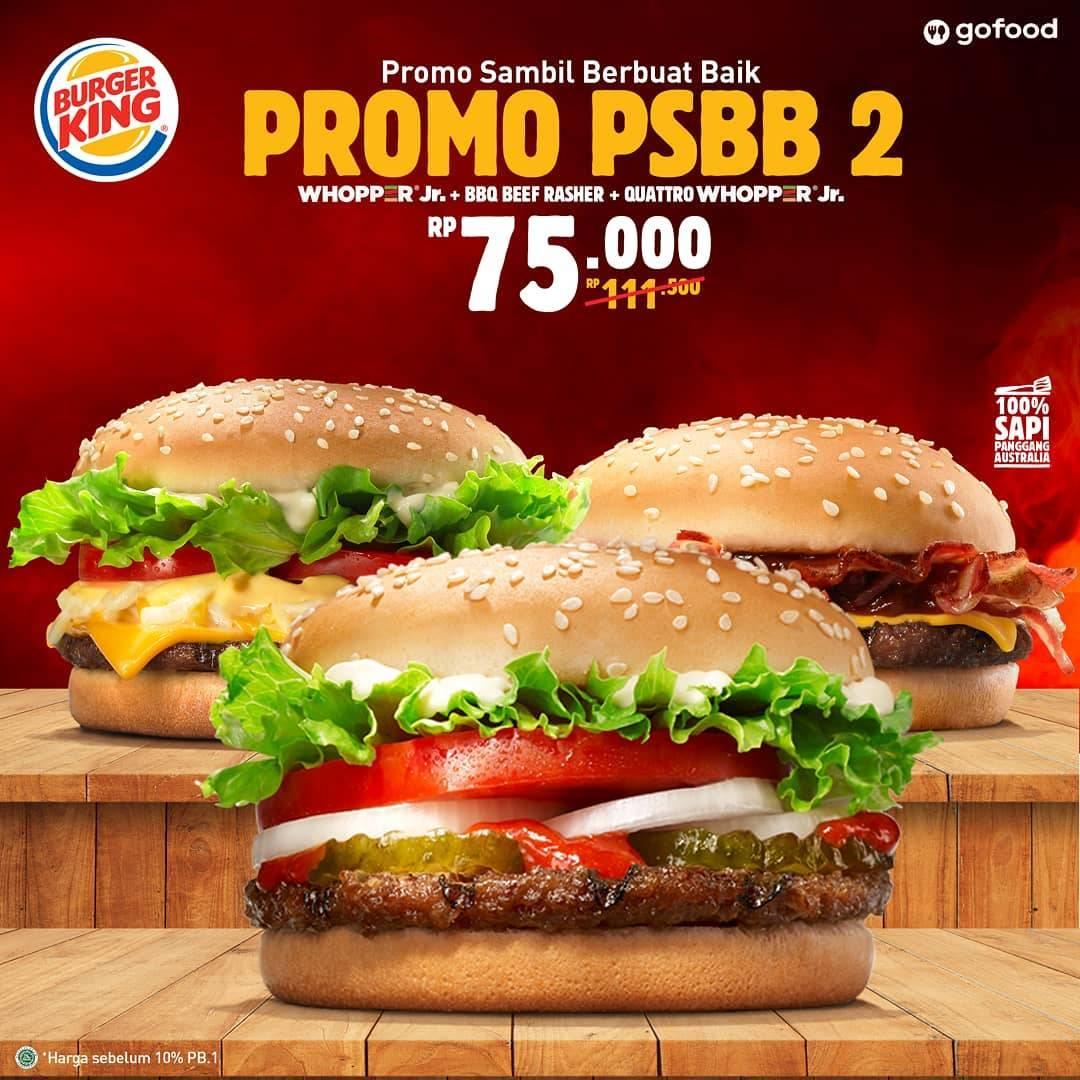 Diskon Promo Burger King Paket PSBB 2 Hanya Rp. 75.000 Untuk Pemesanan Melalui GoFood