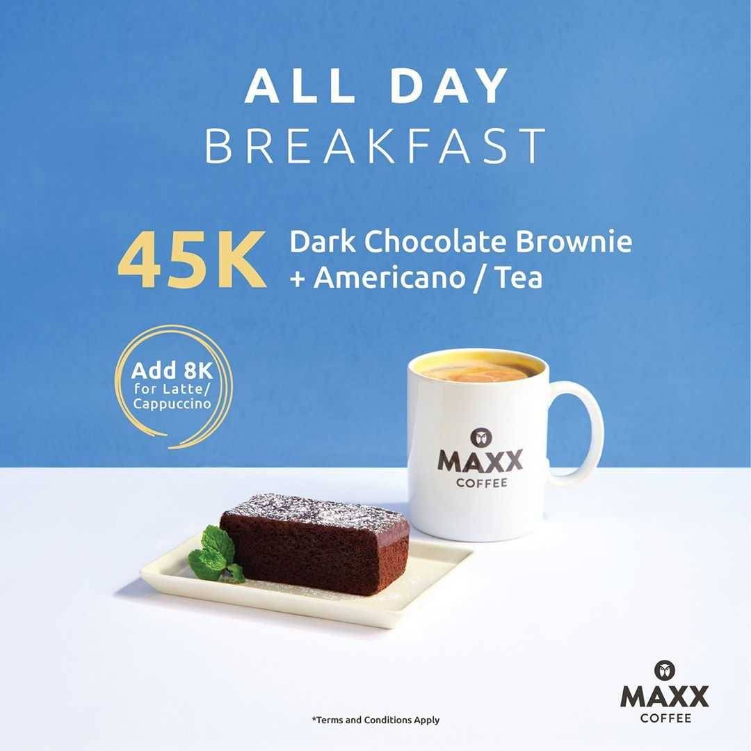Promo diskon Promo Maxx Coffee All Day Breakfast Package Special Value Start From IDR 36.000
