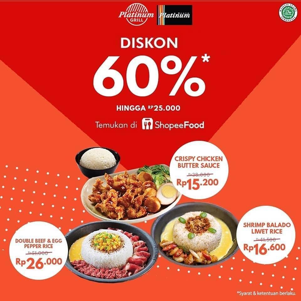 Diskon Platinum, Platinum Grill Diskon 60% Dengan ShopeeFood