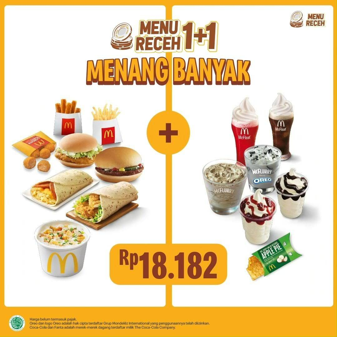 Diskon McDonalds Promo Menu Receh 1+1 Cuma Rp. 18.182