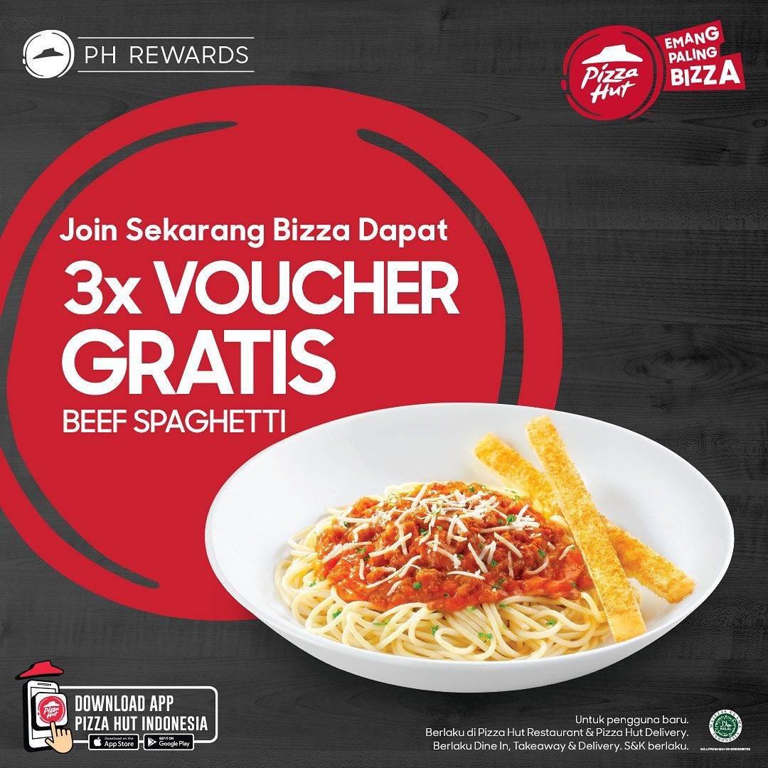 Diskon Pizza Hut 3x Voucher Gratis Beef Spaghetti