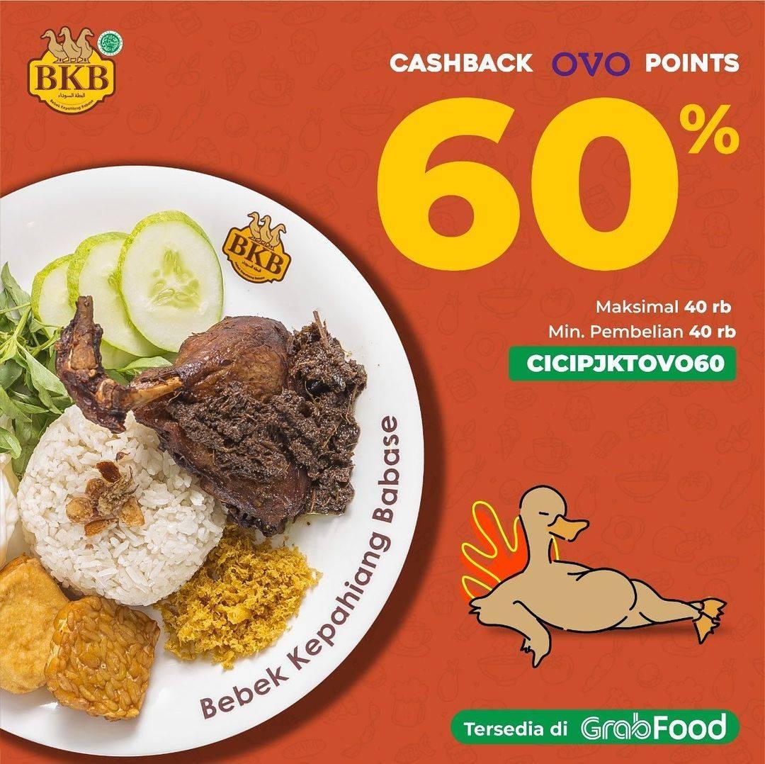 Diskon Bebek BKB Cashback OVO Points 60% Dengan GrabFood