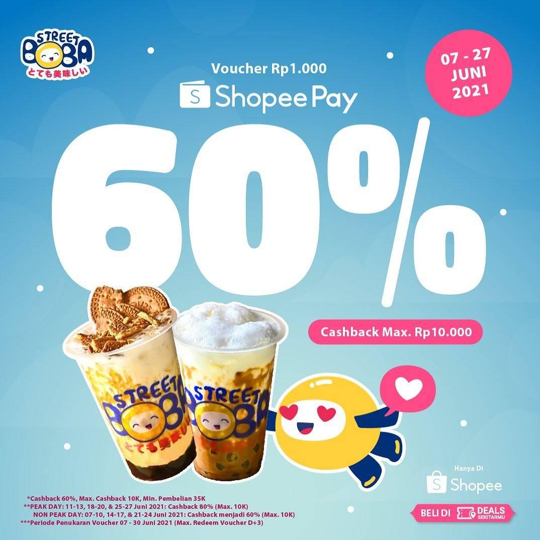 Diskon Street Boba Cashback 60% Dengan Shopeepay