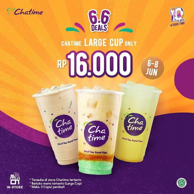 Diskon Chatime 6.6 Deals Large Cup/ Pop Can Only For Rp. 16.000
