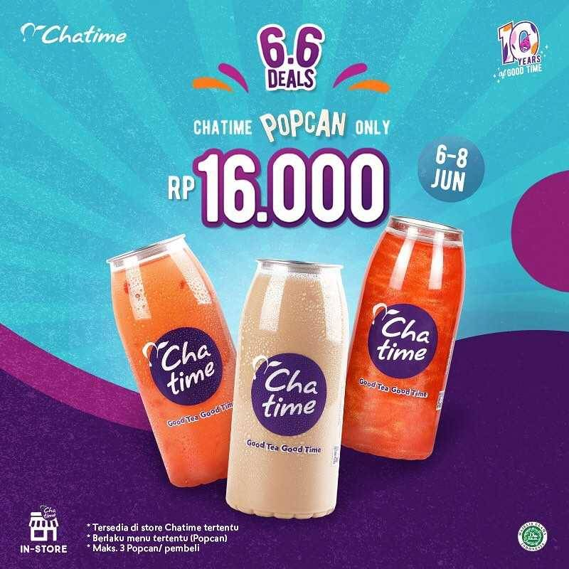 Promo diskon Chatime 6.6 Deals Large Cup/ Pop Can Only For Rp. 16.000