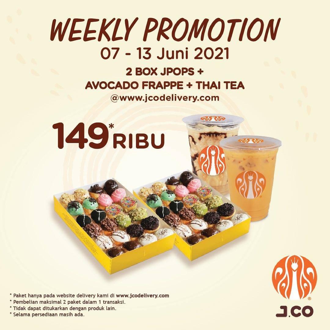 Diskon JCO 2 lusin JPops + 1 Avocade Frappe + 1 Thai Tea Hanya Rp. 149.000