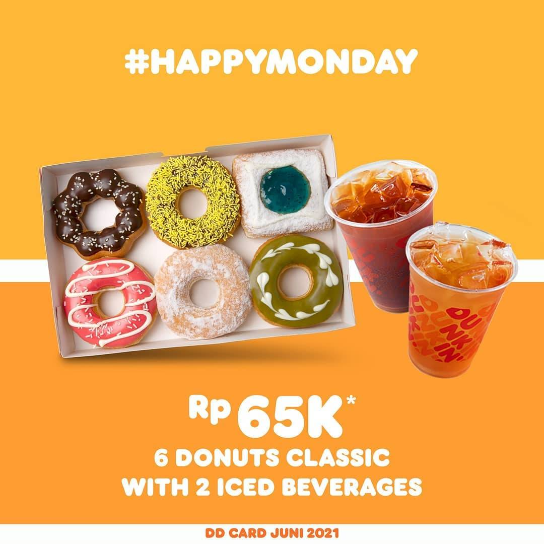 Diskon Dunkin Donuts Promo Happy Monday 6 Donuts + 2 Beverages Only Rp. 65.000