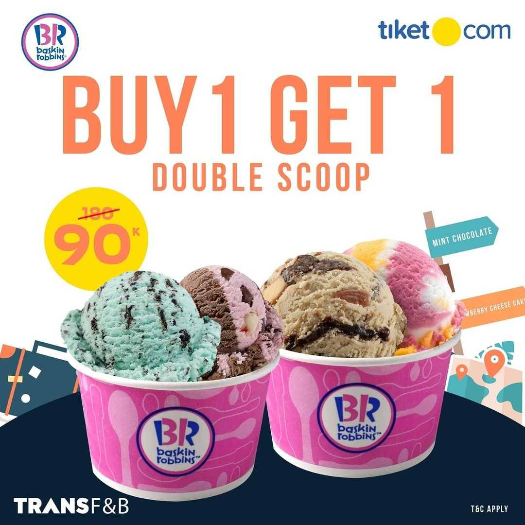 Promo diskon Baskin Robbins Beli 1 Gratis 1 Ice Cream Dengan Tiket.com