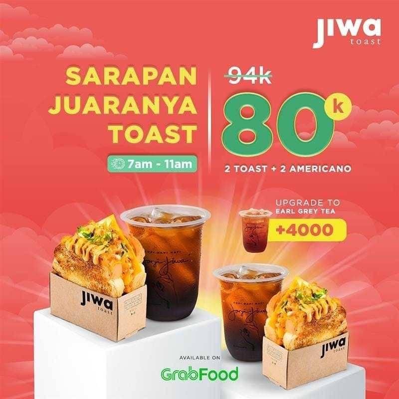 Diskon Jiwa Toast Promo 2 Toast + 2 Americano Hanya Rp. 80.000 Dengan GrabFood