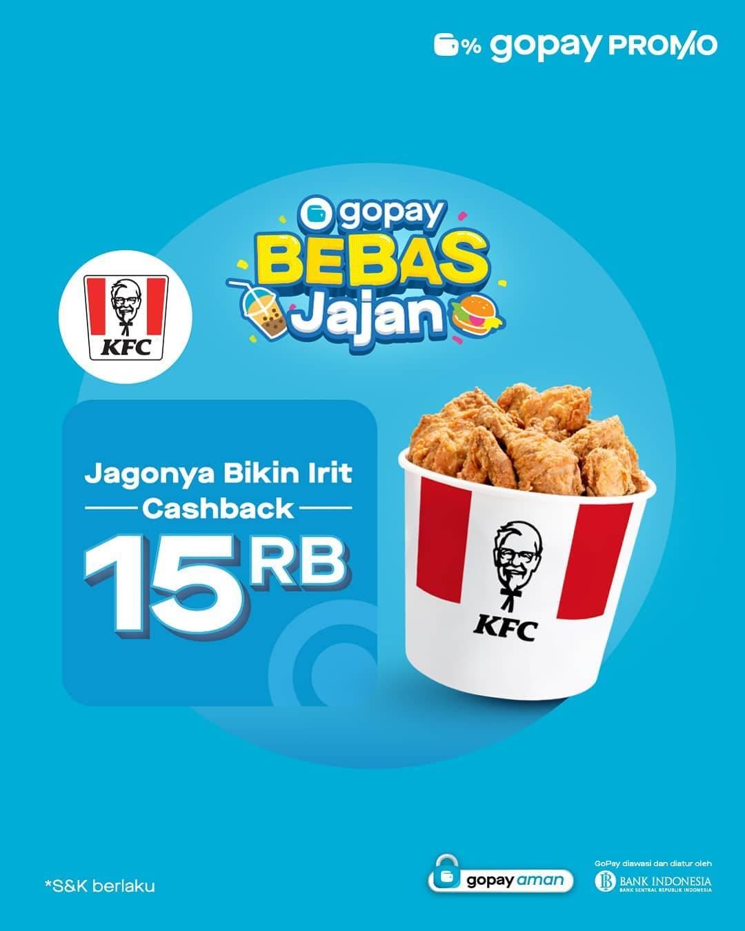 Diskon KFC Cashback Rp. 15.000 Dengan Gopay