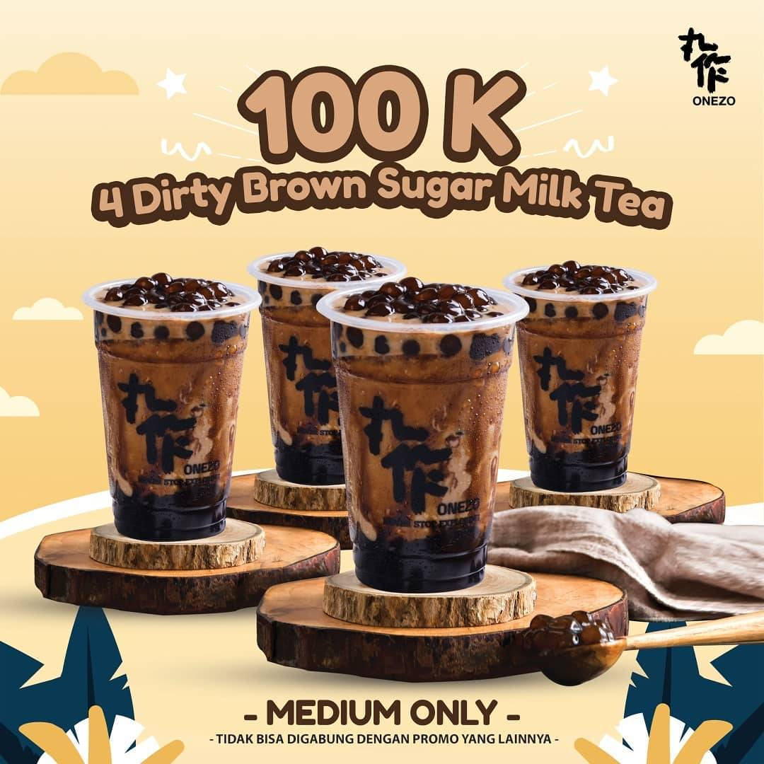 Diskon Onezo Promo 4 Dirty Brown Sugar Milk Tea Only For Rp. 100.000