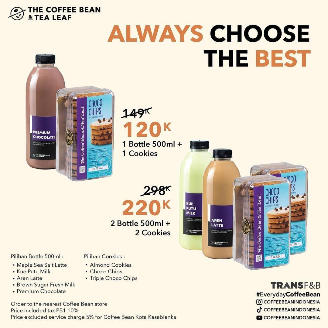 Diskon The Coffee Bean & Tea Leaf Promo Big Bottle + Cookies Mulai Dari Rp.120.000