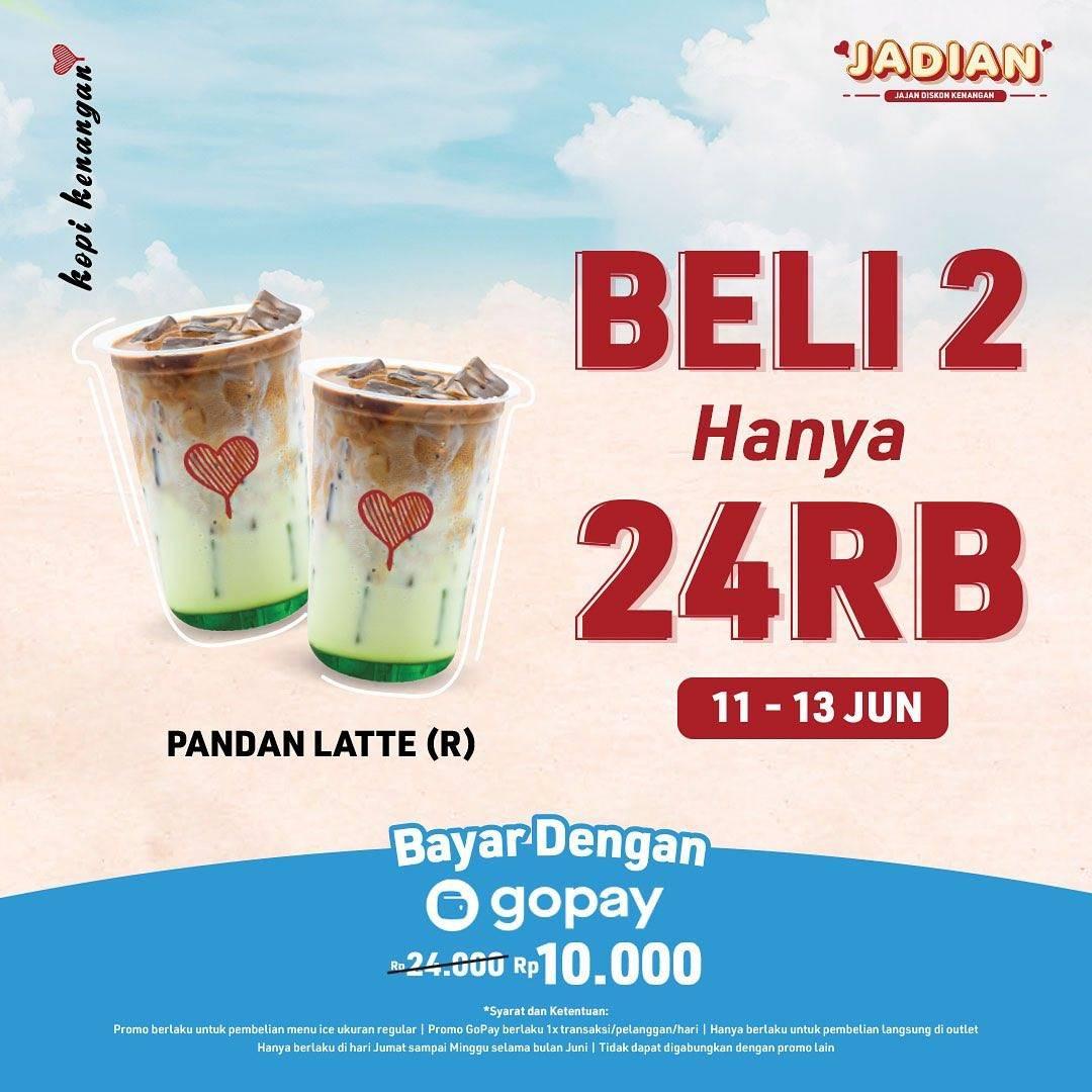 Diskon Kopi Kenangan Promo Beli 2 Pandan Latte Hanya Rp. 24.000