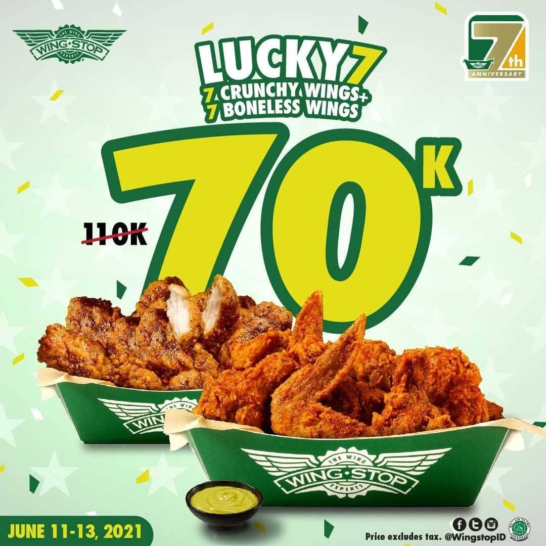 Diskon Wingstop Promo Lucky 7 Chrunchy + Boneless Wings Hanya Rp. 70.000