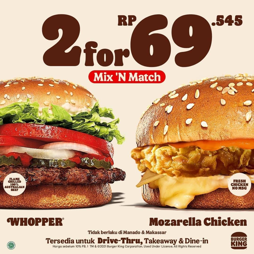 Diskon Burger King Promo Mix n Match Menu Rp. 69Ribuan