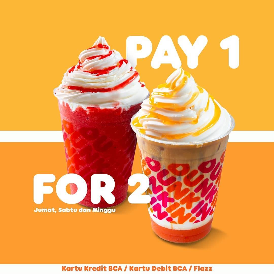 Diskon Dunkin Donuts Pay 1 For 2 Beverages