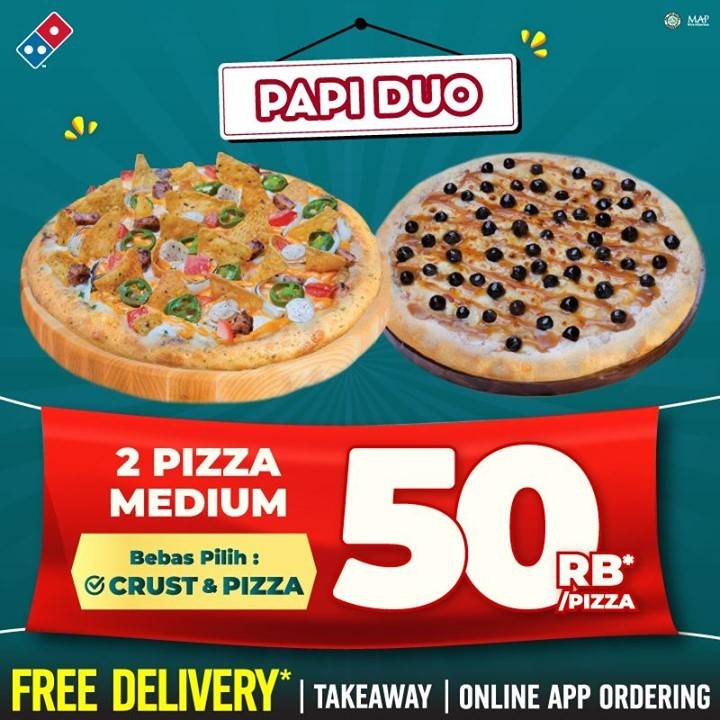 Diskon Domino's Pizza Pizza Medium Hanya Rp. 50.000/Pizza