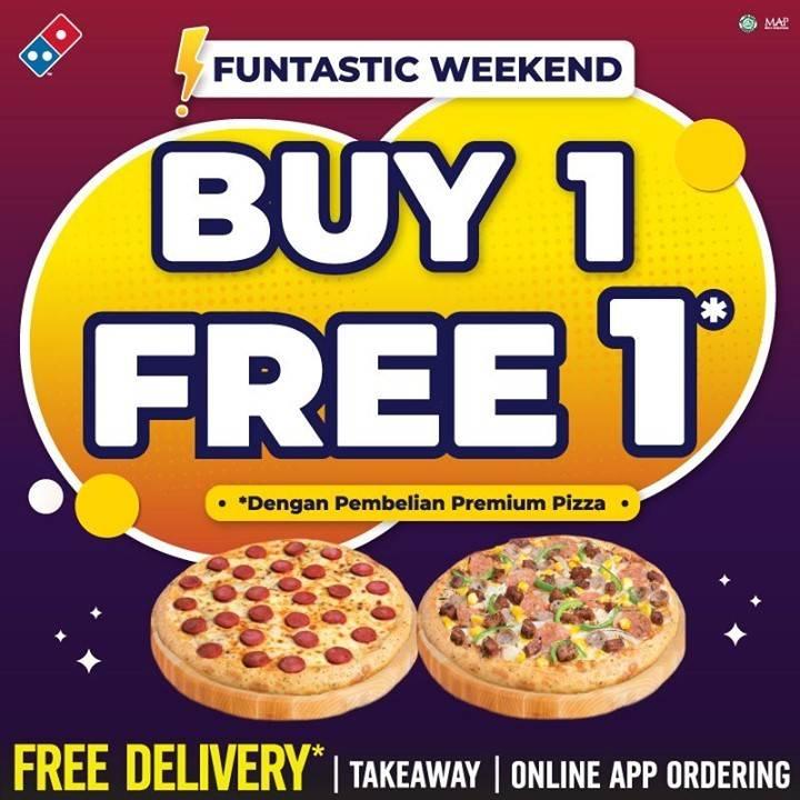 Diskon Domino's Pizza Funtastic Weekend Buy 1 Get 1 Free Pizza