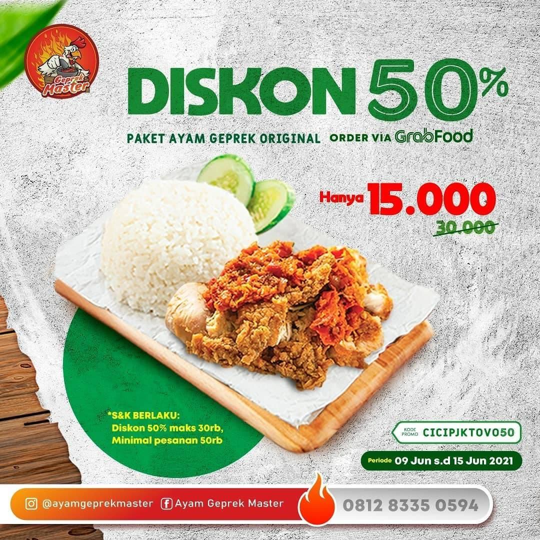 Diskon Ayam Geprek Master Promo Bayar Pakai Shopeepay Dan GrabFood