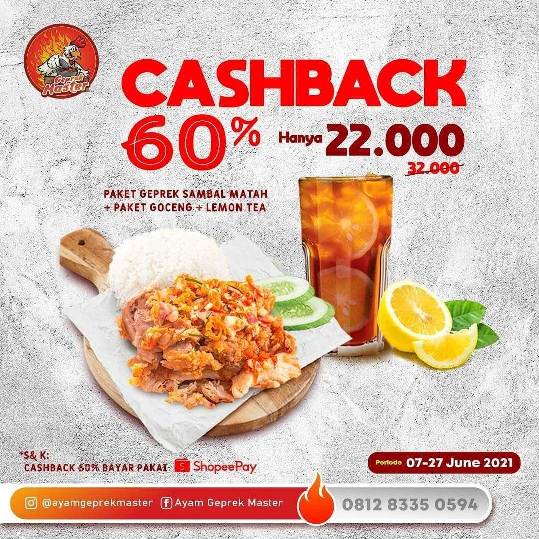 Promo diskon Ayam Geprek Master Promo Bayar Pakai Shopeepay Dan GrabFood
