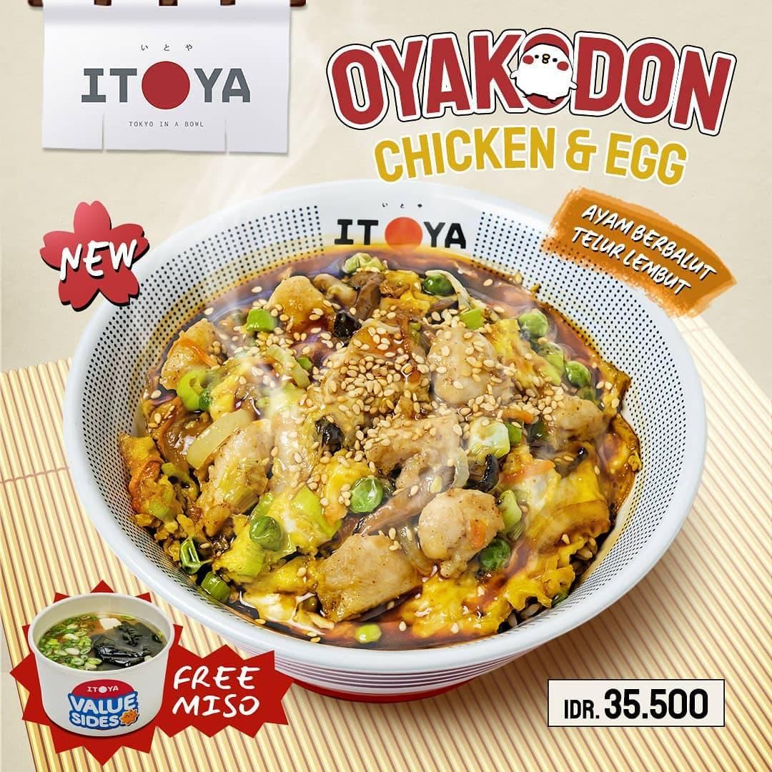 Diskon Itoya Donburi Promo Oyakodon Chicken & Egg Hanya Rp. 35.500 + Free Miso Soup