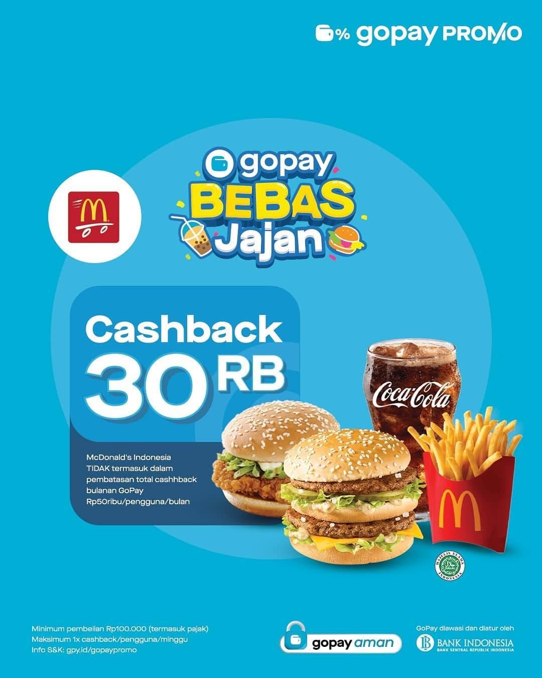 Diskon McDonalds Cashback Hingga Rp. 30.000 Dengan Gopay