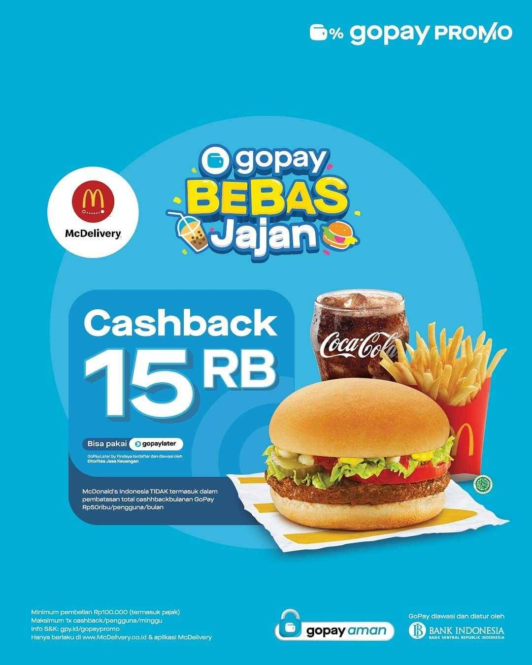 Promo diskon McDonalds Cashback Hingga Rp. 30.000 Dengan Gopay