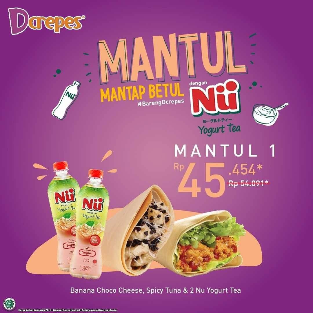 Promo diskon DCrepes Promo Mantap Betul Dengan Nu Yogurt Tea Mulai Dari Rp. 45Ribuan