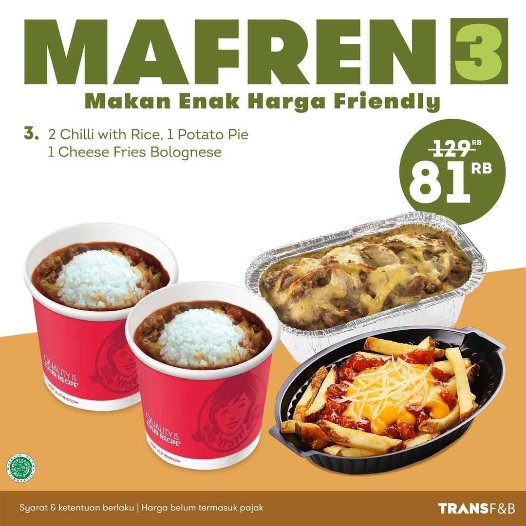 Promo diskon Wendys Promo Paket Mafren Hanya Rp. 81.000