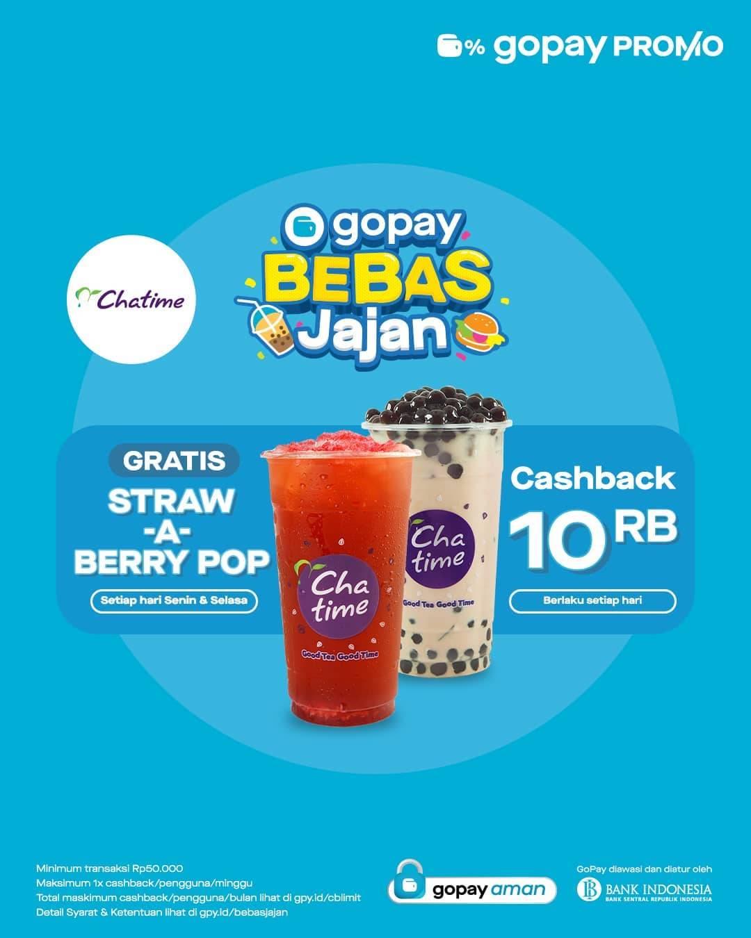Diskon Chatime Promo Gratis Strawberry Pop Atau Cashback Rp. 10.000 Dengan Gopay