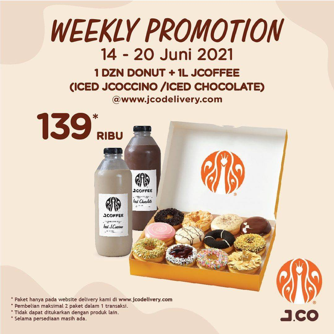 Diskon JCO Weekly Promotion 1 Dzn Donuts +1L JCoffee Hanya Rp. 139.000
